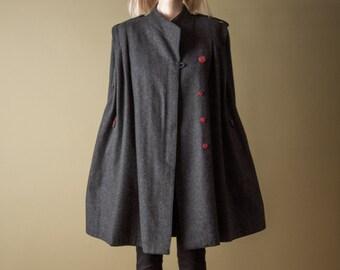 juno plus charcoal gray trapeze coat / military style / voluminous coat / s / 878o