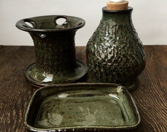 Three Piece Textured Green Bathroom Set Stoneware Stoneware Clay Pottery Ready to Ship