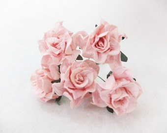 Light peach pink paper flowers - 5 30mm mulberry paper gardenia - paper flowers with wire stems