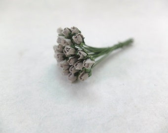 25 4mm mulberry dark grey rose buds - tiny flowers - grey paper flowers