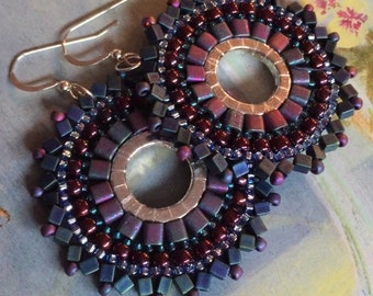 Seed Bead Earrings Metallic Maroon and Blue Hoop Earrings Beadwork Jewelry Statement Jewelry