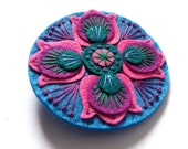 BROOCH - MARRAKECH felt brooch pin with freeform embroidery - scandinavian style