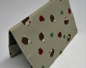 Fabric Passport Holder Cover Case Travel Cruise Vacation Honeymoon - Hedgehogs - Ladybugs - Clover