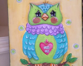 """SOLD... no longer available...Owl painting """"Cutie Hootie""""  original mixed media owl painting"""