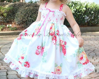 Girls Dress Easter Birthday shabby Flower Girl dress tea party white pink red floral chic dress Twirl Dress Size 12M-12 yrs Jardin de Roses