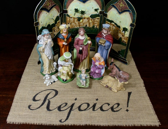 Rejoice! burlap centerpiece table mat for Christmas nativity scenes and holiday sets