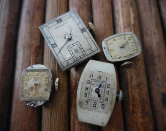 Vintage Watch Faces and Gears parts Insides Steampunk Cyberpunk