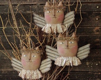 Primitive Christmas Angel Cat Ornie PATTERN, Ornament Pattern, Folk Art