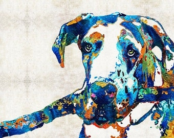 Colorful Harlequin Great Dane Dog Art PRINT from Painting Pets Dogs Animals CANVAS Ready To Hang Large Merle Artwork Jewel Colors Primary