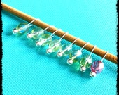 Snag Free Stitch Markers Extra Small Set of 8 -- Pink and Green Czech Glass -- J73 -- Up to size US 4 (3.5mm)