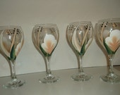 Wine Glasses/Goblets Hand painted Coral and White