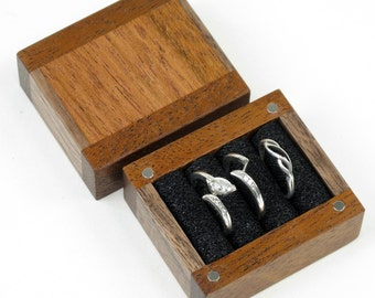 3 Ring Box, Engagement Ring Box, Wedding Ring Box, Ring Bearer Box