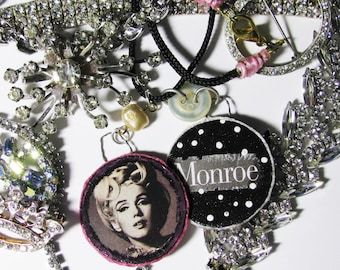 Marilyn Monroe Handmade Mixed Media Collage Wood Pendants Necklace Hollywood Celebrity Icon Actress Vintage Images Black White Norma Jean
