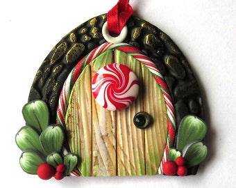 Elf Door Ornament, Christmas Tree Ornament, Holiday Decoration, Polymer Clay Miniature, Holiday Fairy Door