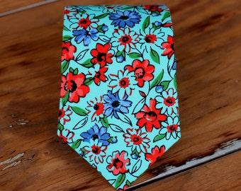 Boys Blue Cotton Necktie - boy's blue flower tie - ring bearer necktie - boys necktie - floral ties - spring summer wedding neck tie - red