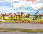 Road to Abilene original acrylic mixed media landscape painting by Polly Jones