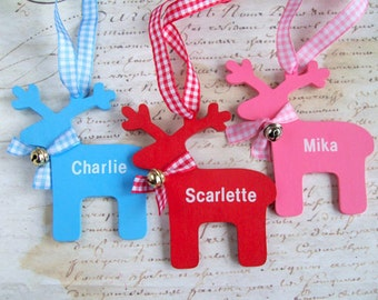 Wooden reindeer personalized Christmas ornament boy / girl custom baby / child name gift