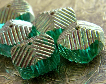 Serpentine (6) -Czech Glass Wavy Rondelles 14x10mm