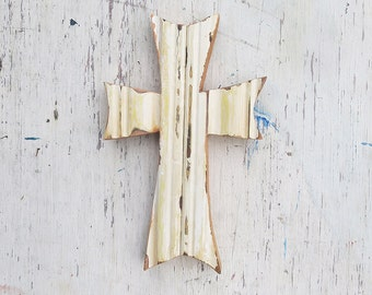 Wooden Wall Cross, Primitive Decor,  Beige Cross , Distressed Cross, Religious Decor, Rustic Wood Cross, Christening Cross,  Nursery Cross
