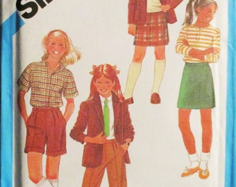 1980s Vintage Sewing Pattern Simplicity 6553 Girls Jacket, Pants, Shorts & Skirt Pattern Size 8 Uncut
