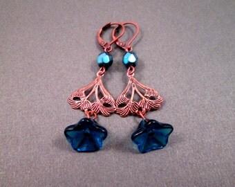 Flower Earrings, Blue Blossoms, Copper Dangle Earrings, FREE Shipping U.S.