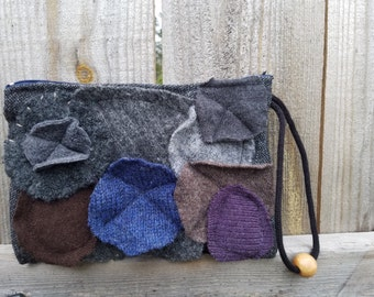 Felted Floral Wool Bag Recycled Sweater