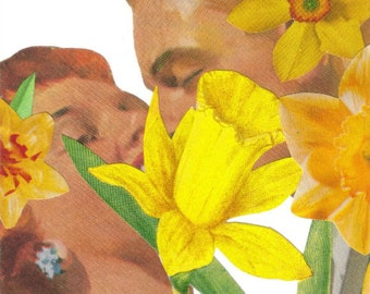 Contemporary Floral Art Original Collage Love Art Decor Lovers Kiss Wall Art Kissing Couple Gift Romantic Wall Art Yellow Daffodil Artwork