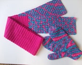 Hand Knit Mittens, Hand Crocheted Scarf  - Red, Pink, Shades of Blue, - for Ladies/Teens