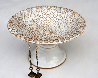 Jewelry Organizer, Jewelry display, Earring Holder, Earring Tree, Pedestal Bowl IN STOCK