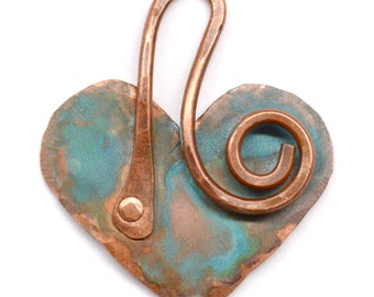 Hand Forged Rustic Copper Heart Pendant Component PN190