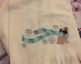 Fleece embroidered scarf - Fawn Pug