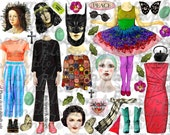 ART TEA LiFE More Dolls Please Paper Dolls Collage Sheet digital file printable download decoupage clip art scrapbook journal page tags clip