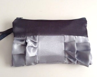 Grey and Silver Satin Ruffle Wristlet