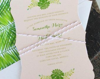 Succulent Wedding Invitation (Elegant Wedding Invitation), Mexico - Design Fee