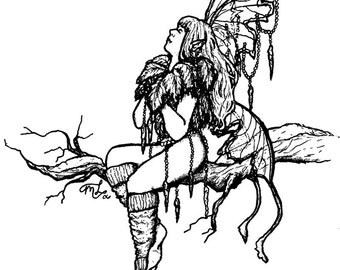 Downloadable coloring page Winter Tree Fae fantasy art