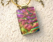 Golden Pink Necklace, Fused Glass Pendant, Dichroic Fused Glass Jewelry, Golden  Pink Pendant, Gold Necklace, Glass Jewelry 020616p101
