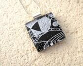 Petite Dichroic Necklace, Black & Silver Necklace, Fused Glass Jewelry, Dichroic Jewelry,  Silver/Black Necklace, Glass Jewelry, 41916p2