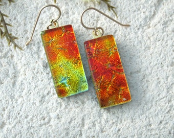 Golden Orange Red Glass Earrings, Dangle Earrings, Dichroic Jewelry, Fused Glass Earrings, Gold Filled Earrings, Red Earrings, 071516e101