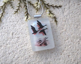 Geese in Flight, Geese Jewelry, Dichroic Jewelry, Fused Glass Jewelry, Bird Scene, Necklace Included,  Dichroic Pendant, Chain, 081216p104