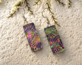 Pink Gold Earrings, Pink Earrings, Dichroic Earrings, Dangle Drop Earrings, Fused Glass Jewelry, Sterling Silver Earrings 010216e100