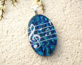 Custom Order, Music Necklace, Dichroic Jewelry,  Fused Glass Jewelry , Blue Necklace, Dichroic Pendant, Fused Glass Necklace, 020816p106