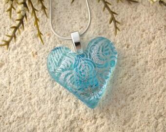 Heart Necklace, Aqua Blue Heart Pendant, Heart, Glass Jewelry, Fused Glass Jewelry, Necklace Included, Glass Heart,Aqua Silver, 052316p108