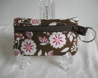 Coin Purse Brown Floral - Keychain Change Purse - Brown Pink Change Purse - Brown Pink Floral - Padded Earbud Holder