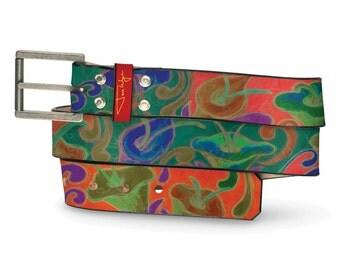 Bizarro Floral Belt, Bizarro Post Matisse Flowers, Floral Leather Belt, Leather Belt Flowers