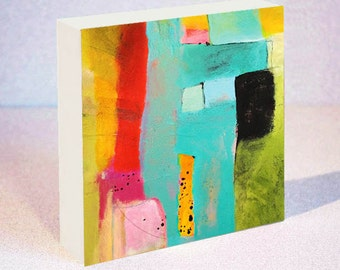 Abstract Art Print on Wood Block Featuring Turquoise, Red, Orange and Green Design, 6 x 6, 8 x 8 or 10 x 10