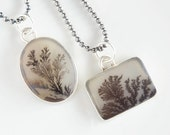 Fern Agate Pendant, Sterling Silver Dendritic Agate Necklace for Rockhounds, Boho Geology Gift