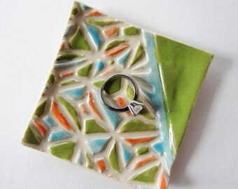 Square Trinket Dish, Coin dish, Mosaic Pattern Pottery, Colorful pottery - great for rings or spoon rest