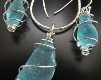 Sea Glass Necklace and Earrings Gift Set, Seaglass Jewelry, Beach Combed Aqua Blue Spiral Wrapped, Jewellery
