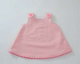 Simple Sweet Pink Checked Gingham Girls Dress | Baby, Toddler, Pre-School Girls Children's Dress | Sizes Newborn to Girls 6 - Girls Clothes