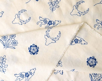 Japanese Fabric Kokka embroidered canvas - cream, blue - 50cm